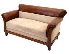 Sofá 3 Plazas Textil y Piel Marrón 83 x 152 x 80 centímetros