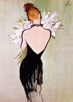 #RenéGruau #illustration #drawing #LBD #fashion #littleblackdress #redhead #flowers #backless #RaiseART #Raise #Art #it #envisionit #create it #raiseit  RaiseART.com