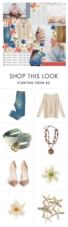 """//put your lips close to mine♥"" by tropical-songwriter ❤ liked on Polyvore featuring Nicole Miller, H&M, Erica Lyons, Gianvito Rossi, Clips and melsunicorns"