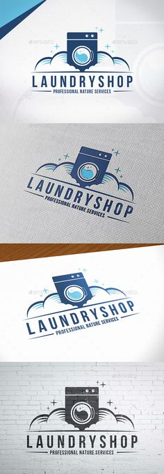 Clean Laundry Logo Design - Three color version: color, greyscale and single color.- The logo is 100 resi Laundry Logo, Laundry Shop, Laundry Design, Self Service, Service Logo, Laundry Business, Machine Logo, Florist Logo, Wine Logo