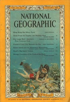 National Geographic January 1962 National Geographic Cover, Gifts For History Buffs, Beneath The Sea, Easter Island, Many Faces, Vintage Images, Wonders Of The World, Underwater, Brave