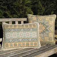 Kilim small square and Kilim Stripe in sea breeze, pale aqua, seam foam, sand colors (#KIL-06 and KIL-ST-06)