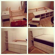 Lit ikea diy pour stockage plateforme partie salon for Ikea critique de lit de stockage de malm