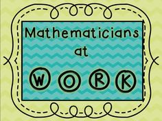 Mathematicians at Work- daily math activities for the classroom