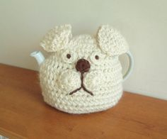 Handmade bulldog tea cosy. dog tea cozy, handmade animal tea cosies uk. puppy…