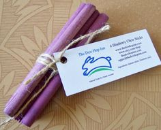 birch sticks soaked in blueberry juice... I wonder how they taste to the chewing bun!
