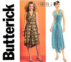 Evening Halter Dress Pattern Bust 36 to 42 UNCUT by CynicalGirl