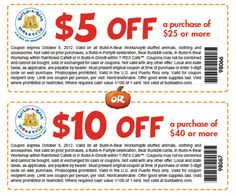 10 off 40 at build a bear workshop or online via checkout promo 98176 coupon