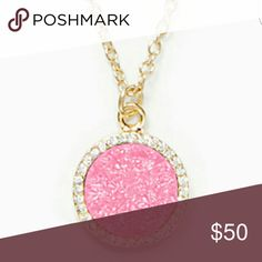 Gold and hot pink druzy pendant. Kate spade. Nwt. Hot pink druzy pendant by Kate spade. Nwt. comes with small dust bag (not photoed but it's brown with gold lettering with pink ties) kate spade Jewelry Necklaces