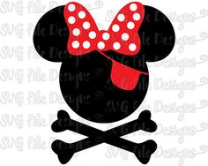 Pirate Minnie Mouse Bow With Crossbones Disney Halloween Layered Cutting File in Svg, Eps, Dxf, Png, and Jpeg for Cricut and Silhouette