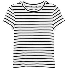 Monki Magdalena tee ($14) ❤ liked on Polyvore featuring tops, t-shirts, blusas, sleek stripes, white crop top, crop top, ribbed crop top, stripe tee and white t shirt