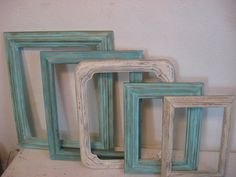Grouping of Five Hand Painted Wooded Frames by GoodCharmVintage