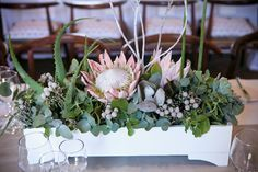 Inspiration and ideas for wedding and bridal flowers. Proteas are a great flower to include in your bridal bouquet and centerpieces. Beach Wedding Centerpieces, Rose Centerpieces, Wedding Flower Decorations, Bridal Flowers, Protea Centerpiece, Wedding Ideas, Wedding Events, Protea Bouquet, Protea Flower