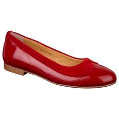 Røde damesko Angulus Ballerinasko skind Lak sko med ruskinds kant