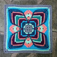 "Color makes me happy! This incredible 12"" afghan block is full of all the things that make me happy. Just think of an afghan in an all-over repeat of this square. Make it in colors for a baby or your room décor. Pure gorgeous!  You can pick up your free pattern download from Polly Plum&#0"
