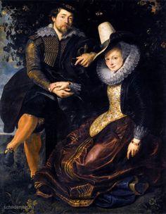 """Painting """"De kunstenaar en zijn eerste vrouw, Isabella Brant, in de Kamperfoelie Bower"""" by Peter Paul Rubens - www.schilderijen.nu"""
