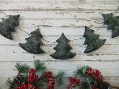 Primitive Christmas Tree Garland Winter by TreasuredPrimitives