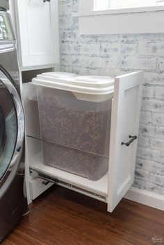 We built a custom Laundry Room Cabinet with pull-out shelves and cabinet doors provided by CabinetNow for our Laundry Room Renovation project! Mudroom Laundry Room, Laundry Room Shelves, Laundry Room Remodel, Laundry Room Cabinets, Laundry Room Organization, Laundry Room Design, Laundry Decor, Laundry Storage, Diy Cabinets