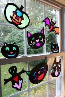 Halloween Stained Glass Creatures~ Make your own, or buy Pink and Green Mama's art ebook ($10) for easy-to-use templates. Looks like she has a lot of other great ideas, too!