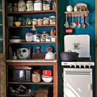 """Cooper looked long and hard for this Magic Chef stove. """"I asked everyone in creation if they knew of a cute, small old stove, and one day a woman said yes,"""" Cooper recalls."""