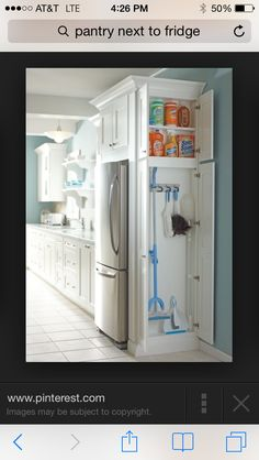 Like idea of including skinny cabinet space for broom cabinet