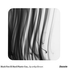 """The Black Fire III Hard Plastic Coasters Set designed by Artist C.L. Brown features fire photography converted to black and white. Made with high-gloss plastic and a non-skid cork backing, these coasters display vivid and sharp colors, and easily wipe clean. Perfect for hot and cold drinks, these artist designed coasters are a great complement to any table or surface. Coasters come in sets of 6 with dimensions of 3.8"""" x 3.8""""."""