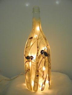 Wine Bottle Light-Recycled Glass-Chickadees by bestemancreations