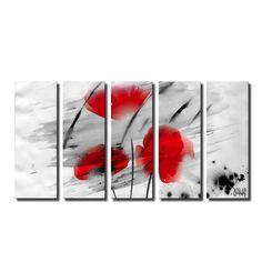 Like The 'Painted Petals II' canvas art depicts the boldness of flower petals as vivid red blossoms flare through a gray ground. This canvas features a modern floral & still life style and is gallery-wrapped for a look that will be cohesive with your home decor.