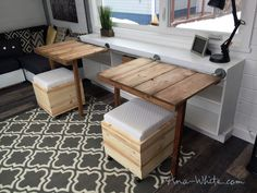 Sliding Door Console with Fold Up Tables for Tiny House - DIY Projects (Kids Wood Crafts Ana White) Diy House Projects, Furniture Projects, Furniture Plans, Diy Furniture, Tiny House Furniture, Fold Up Table, A Table, Tiny House Living, Small Living