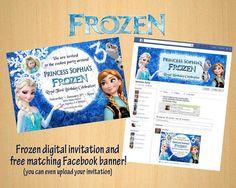 Disney Frozen - Princess Elsa Anna Olaf Birthday Party Invitation Digital Photo  free Facebook banner on Etsy, $10.00