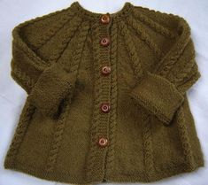 "Free Cardigan Knitting Patterns - Jacket Knitting Patterns Free: ""Baby Sweater Hand Knit Wool Olive Green Size by SwanAvenue"" Baby Sweater Patterns, Baby Cardigan Knitting Pattern, Knit Baby Sweaters, Knitted Baby Clothes, Knit Patterns, Knitted Bags, Cable Sweater, Baby Knits, Baby Patterns"