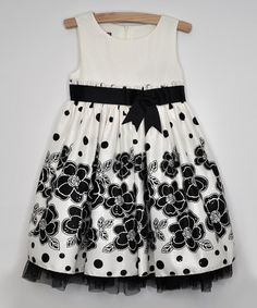 Black & White Daisy Bow Dress - Toddler by Princess Faith #zulily #zulilyfinds