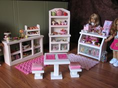 "Bakery Case with Cash Register - Sweet Shop Cafe / Bakery Set for American Girl / 18"" dolls"