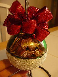 Handpainted Yorkie Christmas Ornament Home Decoration Ball Dog Misspaintsalot