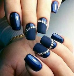 Awesome Nails in Midnight Blue Shades!