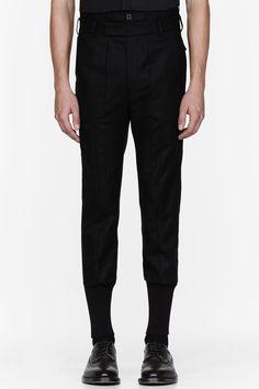 JUUN.J Black ribbed cuff skinny trousers