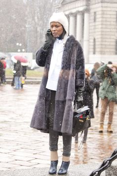 Milan Fashion Week Fall 2013 #streetstyle #mfw - pretty coat.