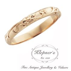 VINTAGE INSPIRED FLORAL ENGRAVED WEDDING BAND. This basic bespoke Vintage inspired floral wedding band, made to order in 18ct rose gold, in a 2.6mm in width, for a finger size M.  This ring can be made in 9ct or 18ct white gold, rose gold, yellow gold, silver or platinum. Visit us at www.klepners.com.au