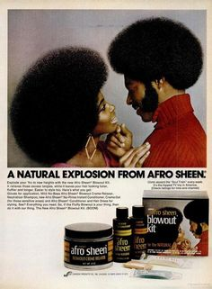 Vintage Hair 1972 afro sheen ad - Over the past few decades the look of black hair market has changed tremendously. From press n-curls to afros to *gulp* Jheri Curls. However, it's not that often we get to see how much the marketin… Afro Hairstyles, Black Women Hairstyles, Vintage Hairstyles, African Hairstyles, Hairstyle Hacks, Celebrity Hairstyles, Wedding Hairstyles, Vintage Advertisements, Vintage Ads
