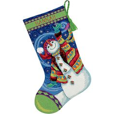 """Dimensions """"Happy Snowman"""" Stocking Needlepoint Kit, 16""""L. Dimensions """"Happy Snowman"""" Stocking Needlepoint Kit, 16""""L: Classic design High-quality materials Kit includes: Full color print on 14 mesh canvas 100 percent cotton thread Wool and acrylic yarns Felt (for backing) Needle Easy-to-follow instructions Complete alphabet for personalization. Price: $26.70"""