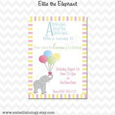 Ellie the Elephant  Printable Invitation by embellishology on Etsy, $10.00