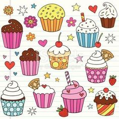 Hand-drawn Cute Tasty Birthday Cupcake Dessert Notebook Doodles with… Cupcake doodles vector design elements Royalty Free cupcake doodles vector design elements stock vector art and more images from Doodle Art, Doodle Drawings, Doodle Sketch, Easy Drawings, Doodle Kids, Cupcake Illustration, Anime Hand, Notebook Doodles, Vector Design