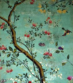 Chinese Wallpaper, (Wallpaper with flowering shrubs and fruit bees, on a pale green background. China, 18th century.)