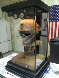 "Custom floating military bust display cases with mini medals and sand base. By ""MENTAL CASES"" look them up on Facebook @http://www.facebook.com/custom.mental.cases"