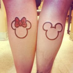 ▷ 1001 + ideas for matching couple tattoos to help you declare your love mickey and minnie, boyfriend and girlfriend tattoos, back of leg tattoos, disney inspired Matching Disney Tattoos, Disney Couple Tattoos, Mickey And Minnie Tattoos, Small Matching Tattoos, Couple Tattoos Love, Small Tattoos For Guys, Tattoo Disney, Matching Couples, Girlfriend Tattoos