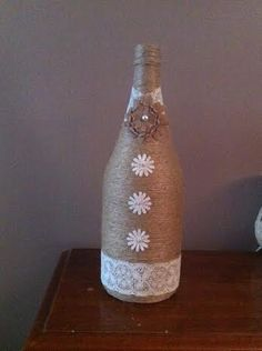Items similar to Large brown twine wine bottle vase, with white lace and burlap flowers. on Etsy Twine Wine Bottles, Wine Bottle Art, Wine Bottle Crafts, Bottles And Jars, Twine Crafts, Vase Crafts, Wedding Vases, Burlap Flowers, Jar Gifts
