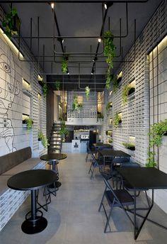 Cafe Shop Design, Restaurant Interior Design, Industrial Restaurant Design, Ivy Cafe, Monochrome Interior, Modern Cafe, Industrial Cafe, Commercial Interiors, Rustic Design