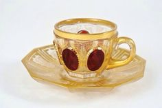 19TH CENTURY MOSER GLASS CUP AND SAUCER : Lot 243