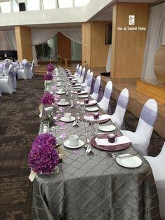 pretty grey & purple wedding head table