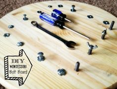 DIY Montessori Bolt Board. The bolt board will help teach children the practical life skill of using a screw driver, hex screw driver and wrench. This board will also teach hand eye coordination while working on fine motor skills, all while having fun!